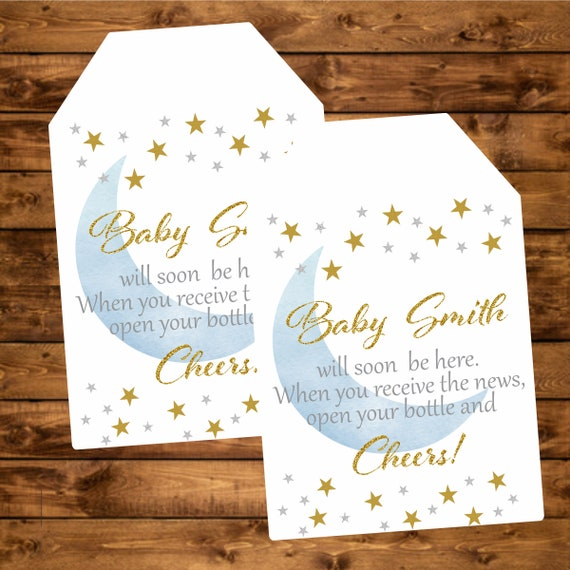 baby shower tag twinkle little star blue silver and gold