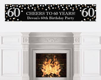 60th Birthday Party Banner - Birthday Party Decorations - 60th Birthday Decoration - Adult 60th Birthday - Black & Gold Personalized Banner