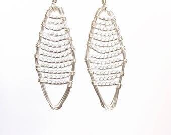 Crystal Beaded Earrings, Czech Glass Beaded Earrings, Silver Drop Earrings, Beach Earrings, Crystal Dangle Earrings