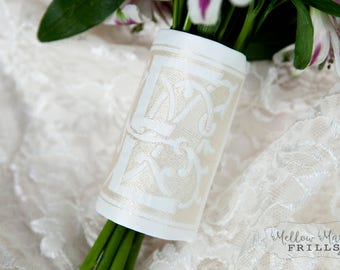 Custom Monogram Bridal Bouquet Wrap ~ Mia Bella  Monogram