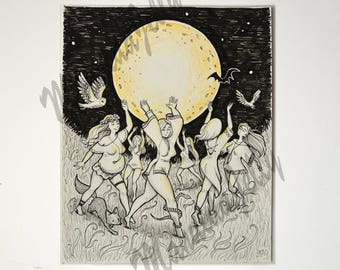 Witches Moon illustration ooak 25x20,5 cm