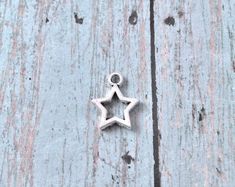 10 Tiny Star charms (2 sided) antique silver tone - star pendants, astronomy charms, star outline charms, galaxy charms, silver stars, XX12