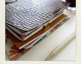 Buldori - Organiseur fleurs + carnets - traveler notebook - Bullet journal - midori style - traveler journal - fauxdori