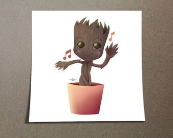 Baby Groot Poster Cute Design from the Guardians of the Galaxy from the Marvel Universe. I Am Groot Dancing to an Awesome Mixtape