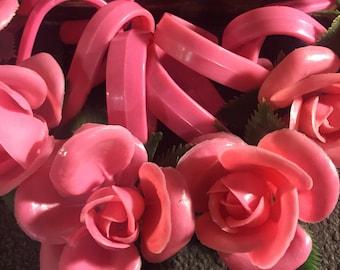 Vintage Mid Century Pink Plastic Rose Shower Curtain Hooks