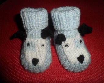 """Dog"" reborn or baby booties in wool (0-3 months)"