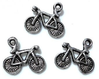 Set of 6 charms bicycle 1.5 cm x 1.3 cm silver metal
