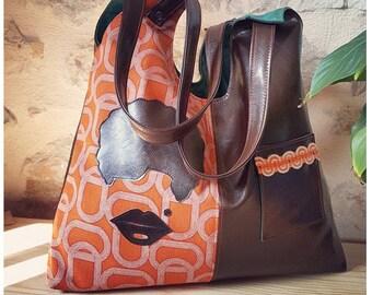 Bag / tote bag of designer vintage disco original orange leatherette Brown applique head disco Tote patterns