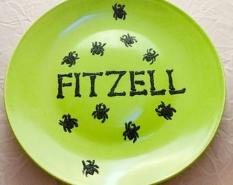 Halloween Party Plate, Monogrammed Spider Decorative Plate, Gifts for Foodies, Gothic Wedding, Photo Shoot Prop, Food Display, Holiday Gift