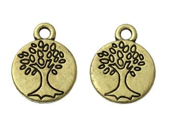 2 charms tree of life medal bronze color, 12 mm diameter