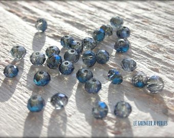 3 mm Blue AB Silver Abacus beads X 50