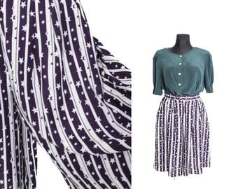 Wide Striped shorts, Wide leg sorts, Women shorts, High waisted shorts, Vintage shorts, High waist shorts, Stars shorts, Blue / Medium Large