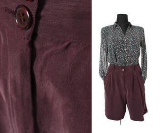 Silk shorts, Wide leg shorts, Maroon Women shorts, Maroon brown shorts, High waisted shorts, Vintage silk shorts, High waist shorts / Medium