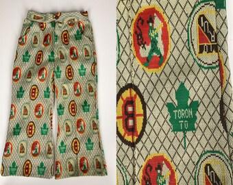 Vintage 1970s Children's Pants // 70s Polyester Kids Pants Size 4/5 // Sweet Sports Nerd Trousers // Toronto Maple Leaf Boston Sox