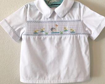 Vintage White Cotton Shirt with Smocking. Vintage Toddler Shirt with Ducklings. Toddler Boy Spring / Summer Cotton Shirt. Smocked Shirt.