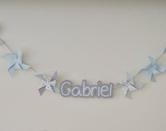 Fabric Garland with windmills and your child's name