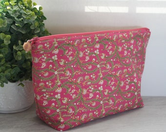 Large Pink Floral Cosmetic or Wet Bag with Water Resistant Lining