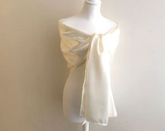Stole ivory satin with 200/50 cm stole wedding/party/christening/cocktail