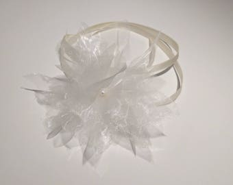 Crew neck ivory organza flowers, wedding bracelet, ceremony, party