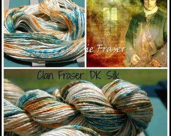 Clan Fraser DK Weight Silk hand dyed yarn