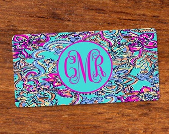 Custom Lilly Inspired Colorful Monogram License Plate / Aluminum/ Matching Car Coasters Set of 2