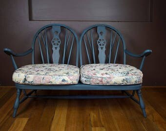 Shabby chic original Ercol two-seater, re-upholstered and painted