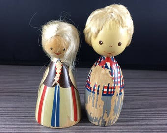 Set of 2 Vintage Wooden Folk Dres Doll Figurine Salvo Audru Ethnic Women and Men Wood Blonde