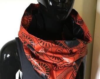 foulard ethnique infinity velours et wax echarpe tissu scarf tube snood