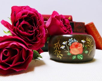 La Vie en Rose Hand Painted Wooden Bracelet