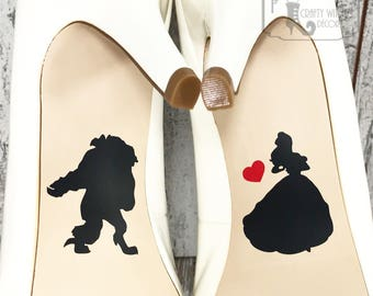 Beauty and the Beast Wedding Shoe Decals, High Heel Decals, Shoe Decals for Wedding, Wedding Shoe Decals, Disney Shoe Decals, Vinyl Decal