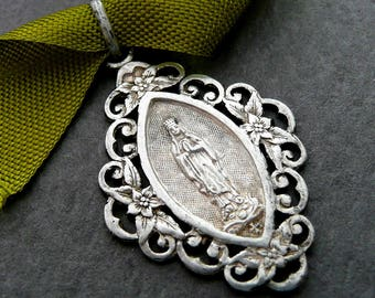 Vintage French Silver Blessed Virgin Mary Medal, Our Lady of Lourdes