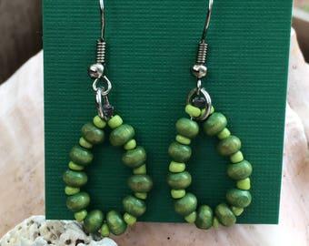 Green Beaded Teardrop Earrings