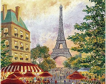 TWO (2) Paris Promenade, Eiffel Tower Paper Cocktail Napkins for Decoupage and Paper Crafts