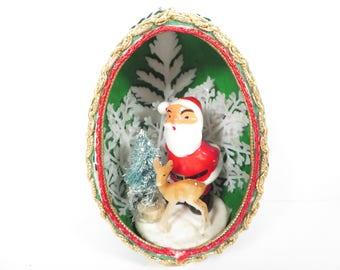 Vintage Christmas Egg Santa Claus Ornament -Santa Claus Reindeer in Egg Christmas Ornament Diorama