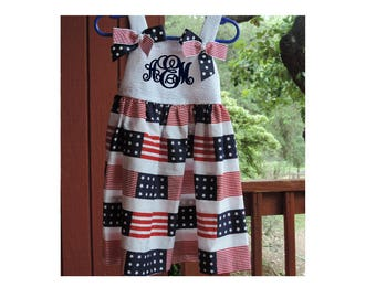 Patriotic Dress With Ribbons - Monogrammed with Initials or Name