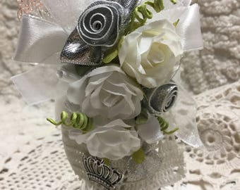 Shabby Altered Shaker  -  Silver and White
