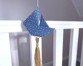 Garland ships origami fabric bleu_decoration nursery, child's room
