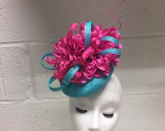SAMPLE Turquoise & Pink Feather Hat
