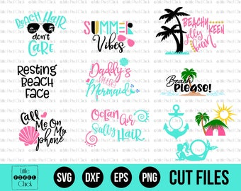 Beach SVG Bundle - SVG Files - Summer Monogram SVG - Beach Svg - Mermaid Svg - Svg Bundle - Monogram Svg - Svg Designs