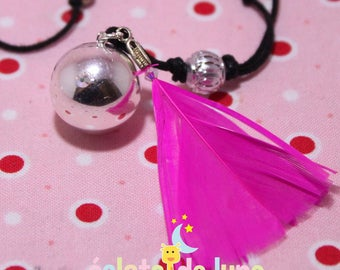 "Pregnancy's Bola HarmonyBall ""Feather"" pink feather pendant and beads ABX2 bicone and Swarovski ABx2"