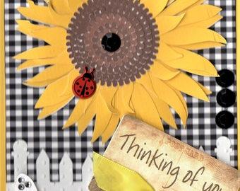 5x7 Vertical Thinking of You Sunflower Handmade Card.