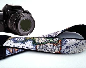 Map Camera Strap. World map: Australia, North America, Africa. Black DSLR Camera Strap. Camera accessories. Personalized gift by InTePro