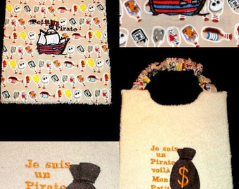 Embroidered bib baby boy reversible theme pirate