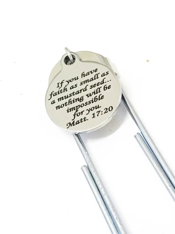 Scripture Gift, Planner Bookmark, Mustard Seed Faith Bookmark, Matthew 17 20 Scripture Planner Paper Clip Bookmark, Faith Of A Mustard Seed