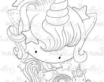 Unicorn - Digital Stamp (black/white) - Lil Miss Sugarpops craft digi download