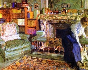 "Laminated placemat Vuillard ""Marguerite Chapin with her fox terrier"""