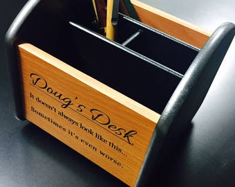 Custom Desk Organizer - Spinning Caddy - Your Name or Message included!