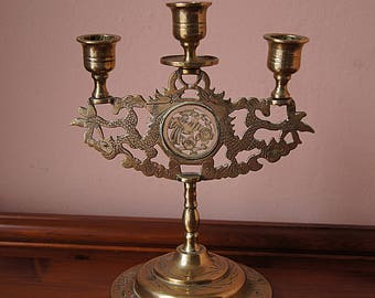 Vintage Brass Candle Holder in Oriental Style.