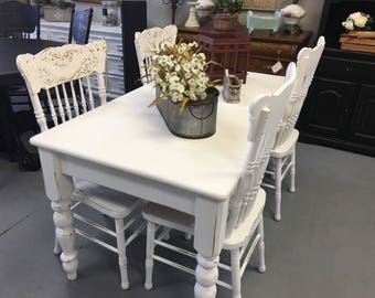 Reserved For Janet White Farmhouse Style Kitchen Dining Table Plus Pressback Highback Chairs