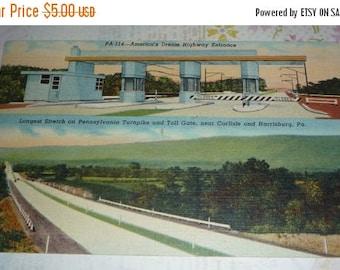 On Sale Pennsylvania Turnpike and Tollgate Near Carlsburg and Harrisburg, PA.  Vintage Linen Postcard